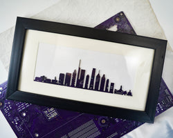 handmade circuit board skyline framed art