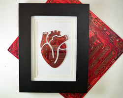 framed anatomical heart art made from recycled circuit boards