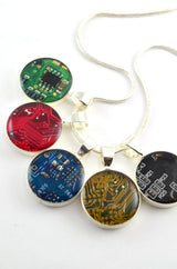 colorful circuit board necklaces
