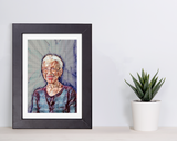 handmade geometric matted art print of katherine johnson
