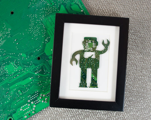 handmade framed robot art made from recycled green circuit board