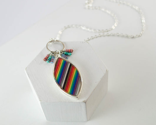handmade necklace made from recycled rainbow ribbon cable, and resistors