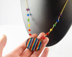 Rainbow Necklace with Rainbow Beaded Chain - Brass