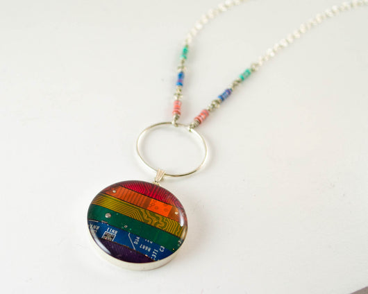 Rainbow Circuit Necklace with Resistors - Sterling Silver