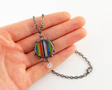 Rainbow Ribbon Cable Necklace - Gunmetal