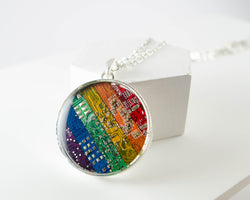 Giant Rainbow Circuit Board Necklace #1