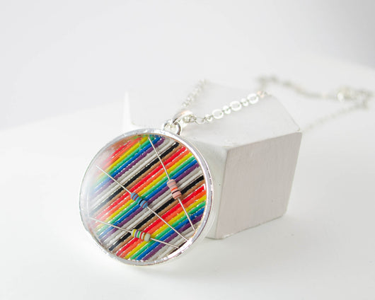 Giant Ribbon Cable & Resistors Necklace