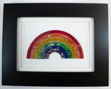 handmade framed art piece made from recycled circuit boards and made into a rainbow