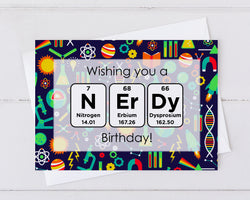 have a nerdy birthday periodic table birthday card