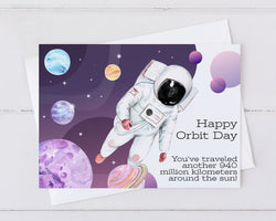 happy orbit day birthday card with astronaut