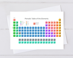 greeting card with image of rainbow periodic table for your chemistry friends