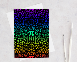 rainbow damask style card featuring mathematics, pi, triangles, graphs, and matricies