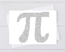 pi card made from the digits of pi
