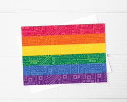 Pride Flag Circuit Board Card