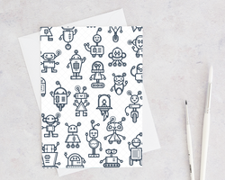 black and white cartoon robot greeting card