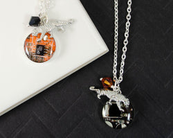 Handmade recycled circuit board charm necklaces with tiger charm for rit