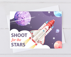 shoot for the srats card with moon, planets, and space shuttle.