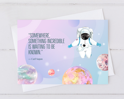 carl sagan universe and astronaut quote encouragement card