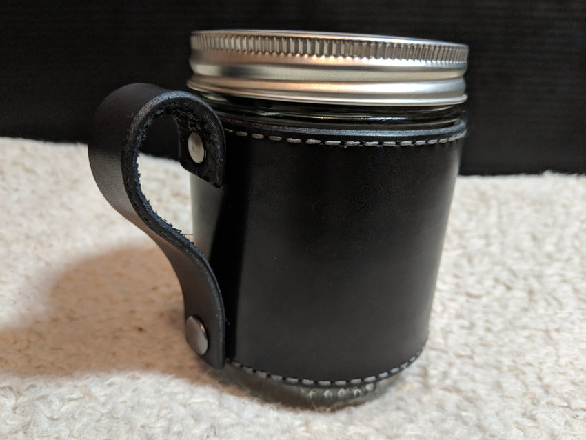 Leather Mug Lugger - Black / Silver with Snap