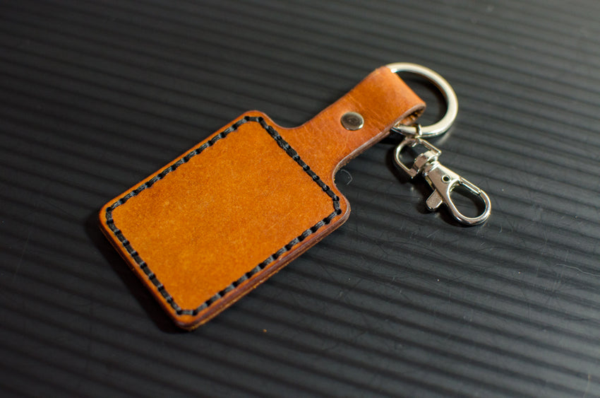 "2.25"" Square Leather Stitched Keychain"