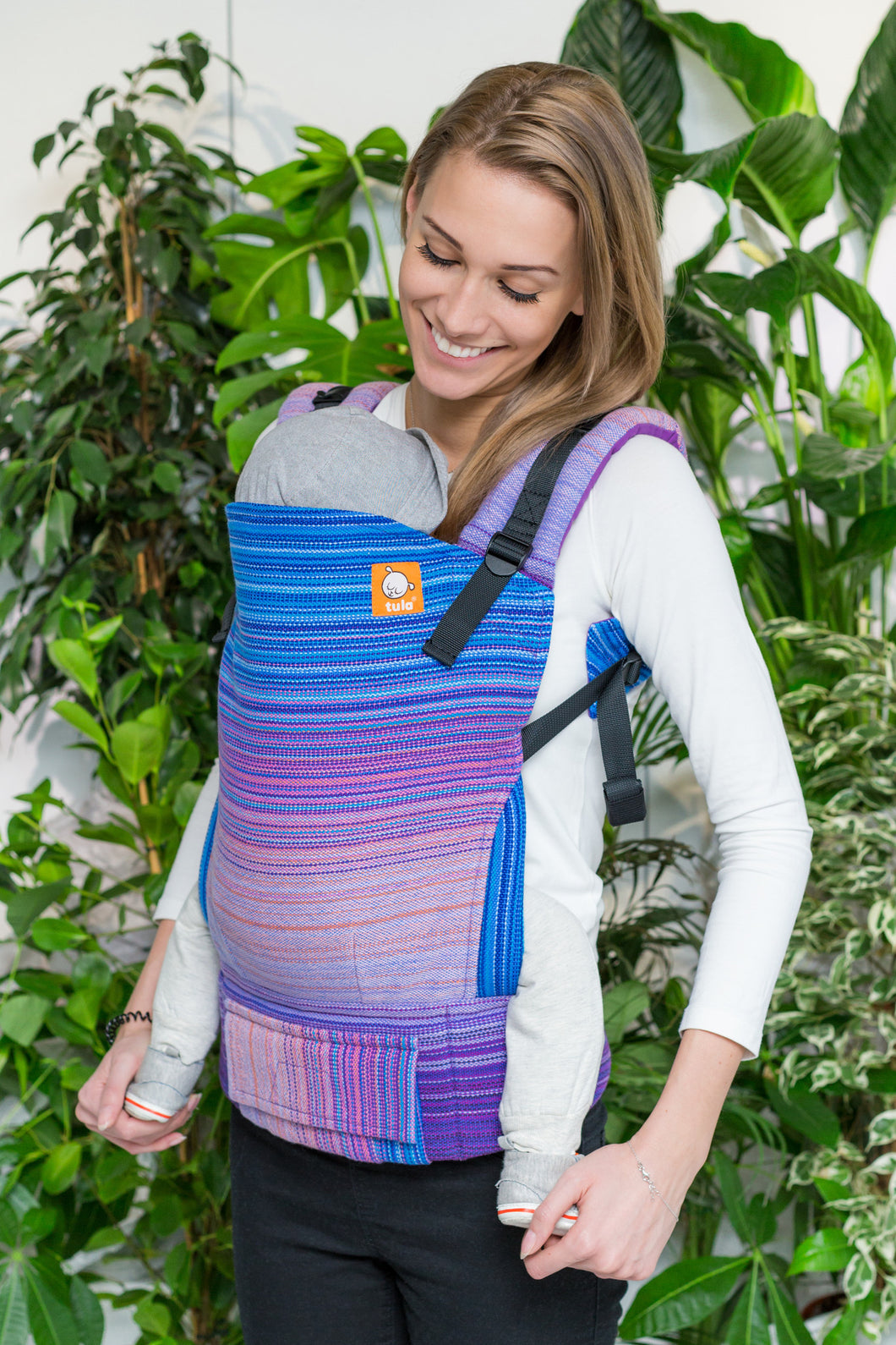Half Toddler Wrap Conversion Carrier - Sakura Blue Weft 1