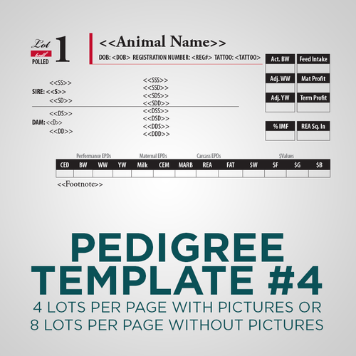 Sale Animal Pedigree Template - Version 4