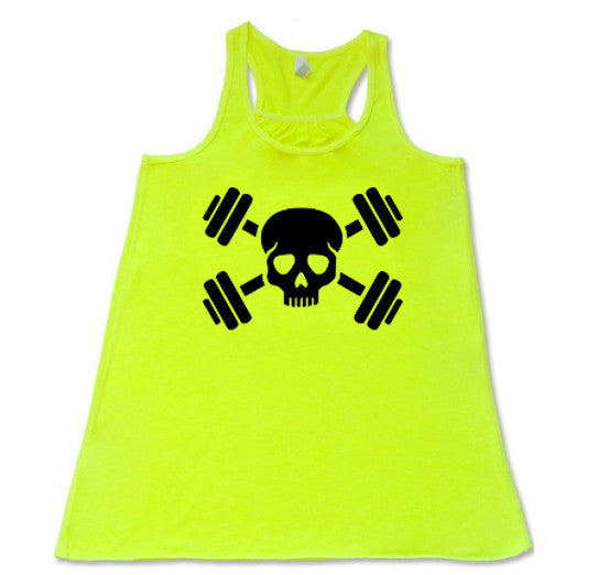 Skull and Barbells  - Flowy Racerback Tank - SoreTodayStrongTomorrow