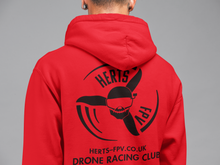 Herts FPV Hoodie with small logo front and large back logo