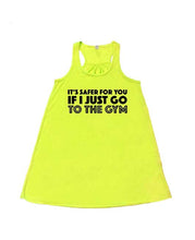 IT'S SAFER FOR YOU IF I JUST GO TO THE GYM - Flowy Racerback Tank - SoreTodayStrongTomorrow