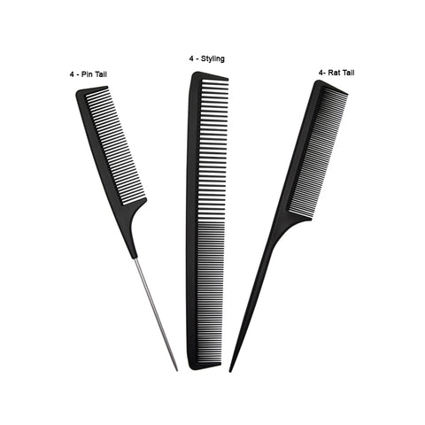 Mixed Carbon Anti-Static Combs - 12 pack