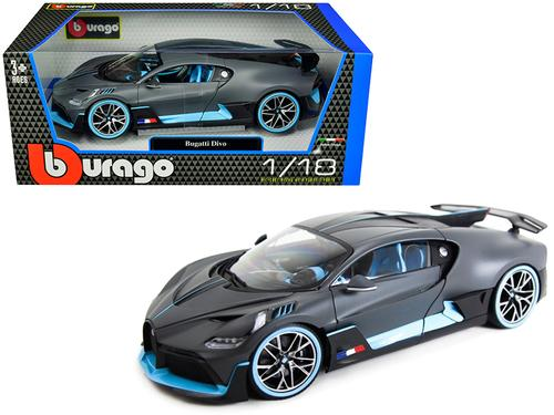 Bugatti Divo Matt Gray with Blue Accents 1/18 Diecast Model Car by Bburago