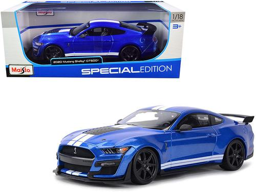 2020 Ford Mustang Shelby GT500 Blue Metallic with White Stripes