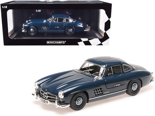 1955 Mercedes Benz 300 SL (W198) Dark Blue Limited Edition to 300 pieces Worldwide 1-18 Diecast Model Car by Minichamps