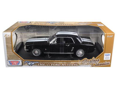 1964 1-2 Ford Mustang Hard Top Black with White Stripes 1-18 Diecast Car Model by Motormax