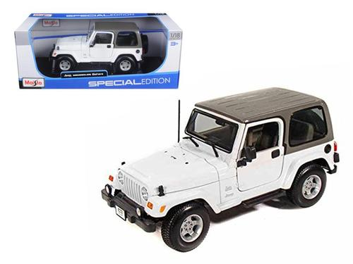 Jeep Wrangler Sahara White 1-18 Diecast Model Car by Maisto