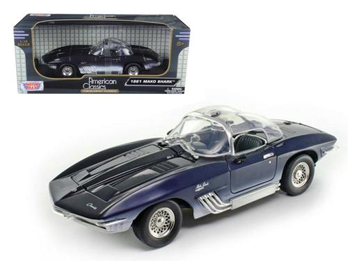 1961 Chevrolet Corvette Mako Shark Dark Blue 1-18 Diecast Model Car by Motormax