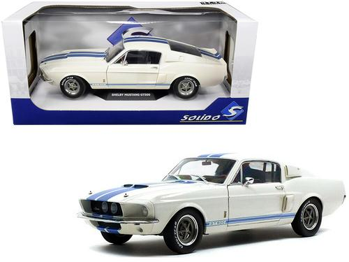 1967 Ford Mustang Shelby GT500 White with Light Blue Stripes 1-18 Diecast Model Car by Solido