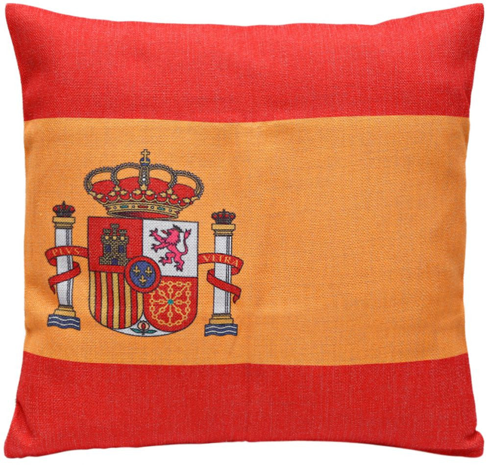 Spain Flag Print Cushion Cover