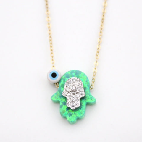 Green Hamsa Diamond Necklace