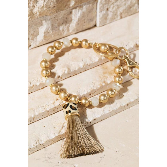 Beaded Tassel Key Ring - Snakeprint - Accessories