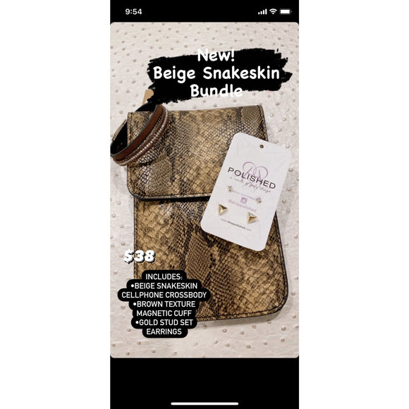 Beige Snake Print Bundle - Accessories