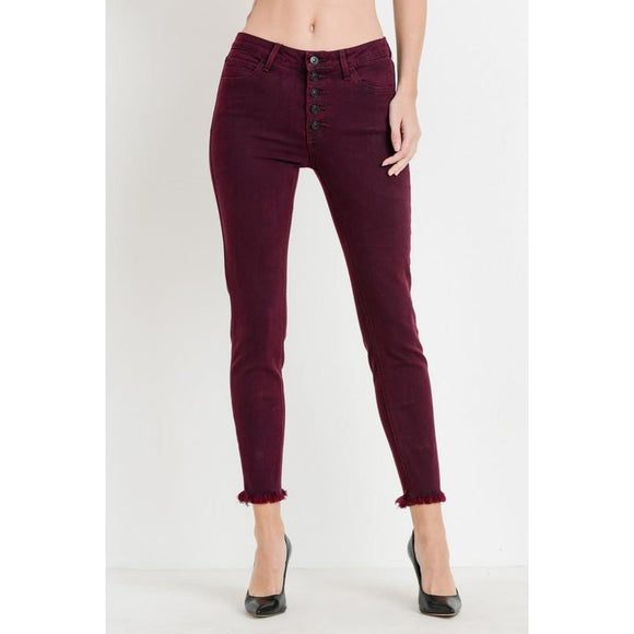 Cabernet Button Down Skinny - Bottoms