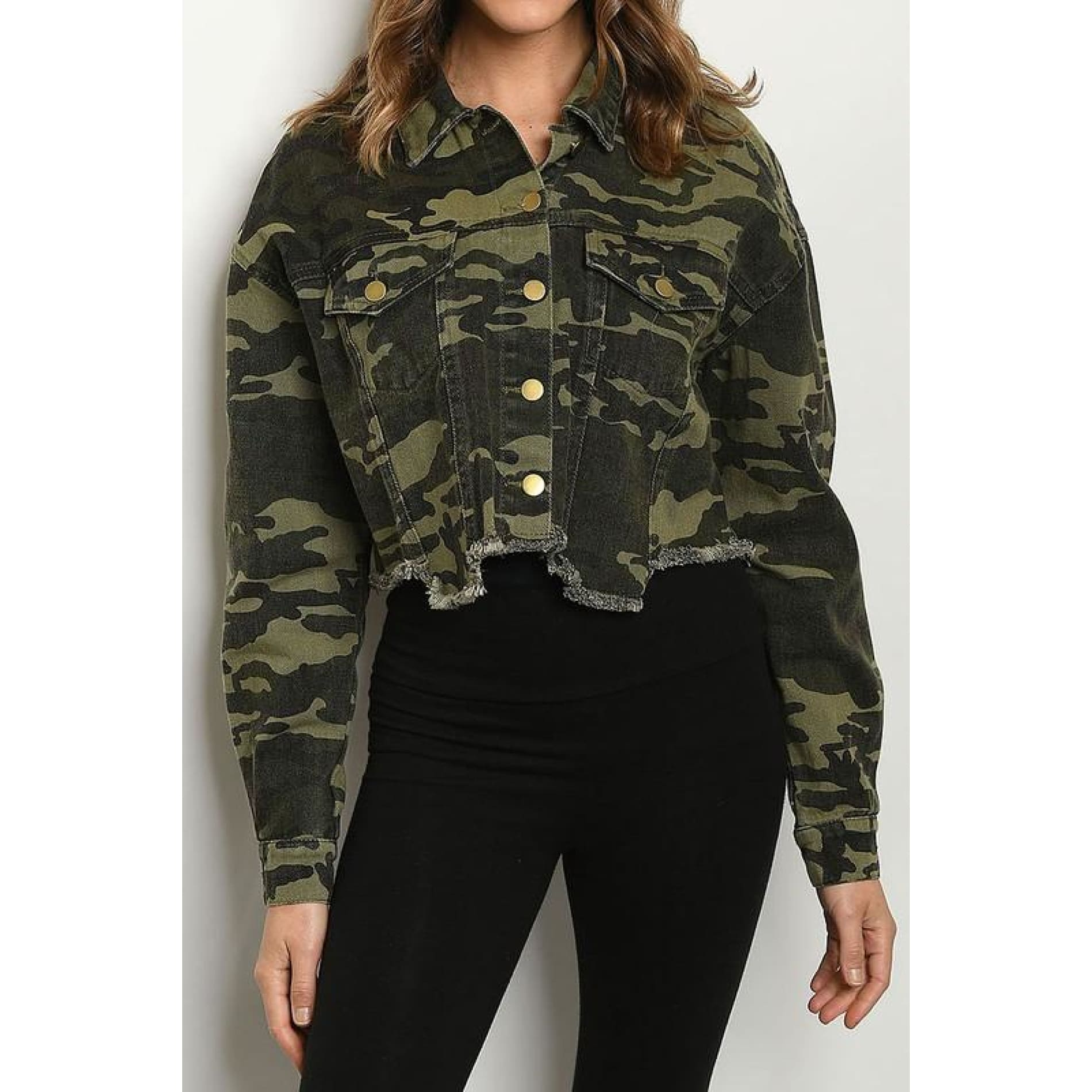 Camo Crop Denim Jacket - Jacket