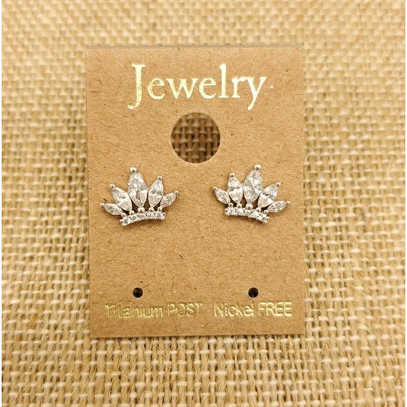 Crown Jewel Stud - Silver - Accessories