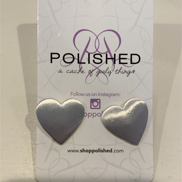 Heart Stud Earring - Silver - Accessories