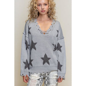 Lace Up Star Sweater - Charcoal / Small - Sweaters