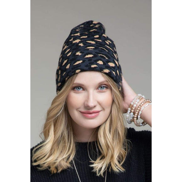Leopard Beanie - Charcoal - Accessories