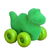 "Load image into Gallery viewer, Green Dinosaur on Wheels (7"")"
