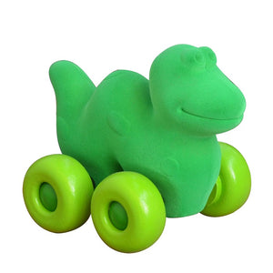 "Green Dinosaur on Wheels (7"")"