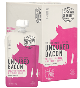 Organic Puree: 6 Pack of Uncured Bacon with Kale & Butternut Squash (6M) (3.5 oz)